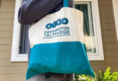 reusable tote with KTBA logo